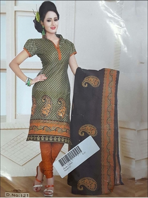 Picture of 121 Olive Green Printed Salwar Suit