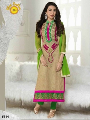 Picture of 5114 Beige and Magenta Designer Straight Suit