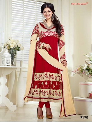 Picture of 9190 Red and Ivory Designer Anarkali Suit