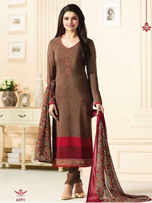 Picture of 6091 Coffee Brown Designer Straight Replica Suit