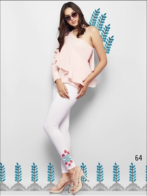 Picture of 64 Off White Embroidered Cotton Lycra Leggings