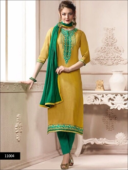 Picture of 11004 Dull Yellow Designer Straight Suit