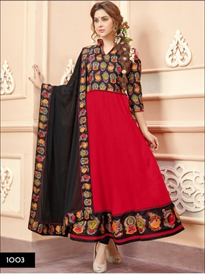 Picture of 1003 Black and Red Designer Anarkali Suit