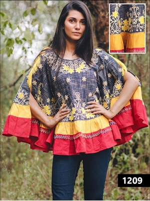 Picture of 1209 Blue and Yellow Designer Khadi Ponchos
