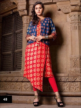 Picture of 48 Red Designer Stitched Kurti with Jacket