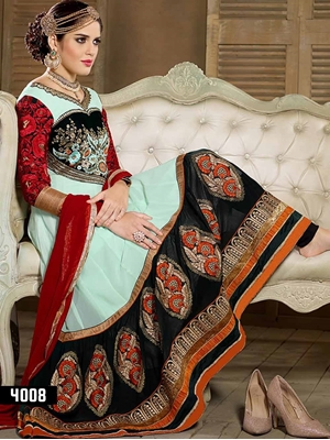 Picture of 4008 Pale Blue and Black Designer Anarkali Suit
