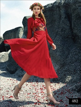 Picture of 482 Red Designer Faux Georgette Stitched Kurti