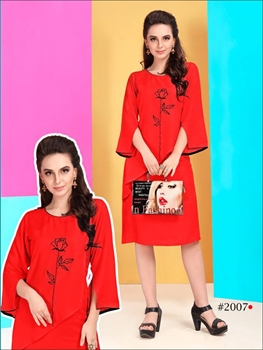 Picture of 2007 Red Designer Stitched Kurti