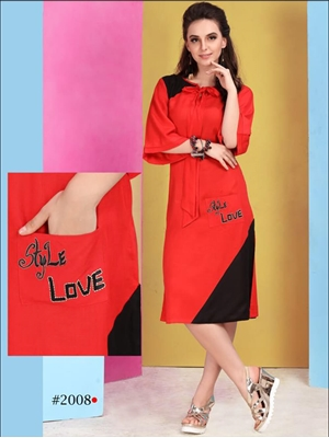 Picture of 2008 Red Designer Stitched Kurti