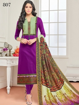 Picture of 807 Purple Designer Cotton Straight Suit