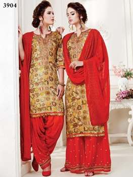 Picture of 3904 Yellow and Red Designer Patiala Suit