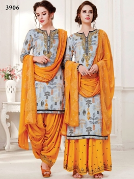 Picture of 3906 Gray and Mango Designer Patiala Suit