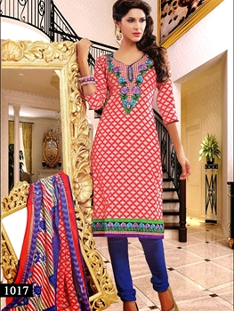 Picture of 1017 Red and White Designer Straight Suit