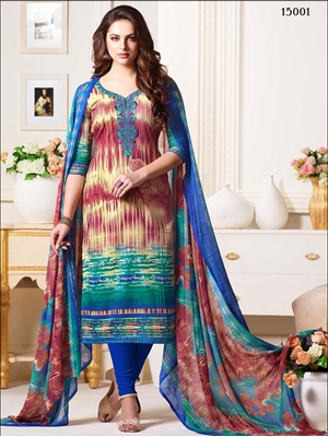 Picture of 15001 Ivory and Multicolor Designer Straight Suit