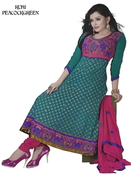 Picture of Peacock Green Designer Anarkali Suit