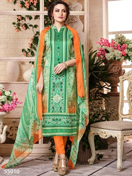 Picture of 55010 Cream and Green Designer Straight Suit