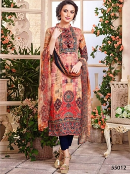 Picture of 55012 Orange and Multicolor Designer Straight Suit