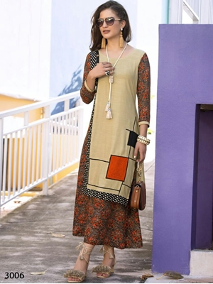 Picture of 3006 Khaki and Multicolor Designer Stitched Kurti