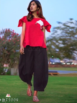 Picture of 3008 Red and Black XL Size Western Style Kurtis