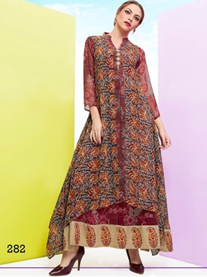 Picture of 482 Maroon and Multicolor Party Wear Stitched Kurti