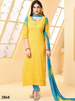 Picture of 2868 Yellow Designer Chiffon Straight Suit