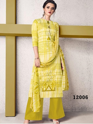 Picture of 12006 Lemon Yellow and White Designer Plazo Suit