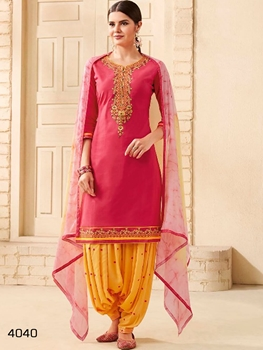 Picture of 4040 Deep Pink Designer Pure Cotton Patiala Suit