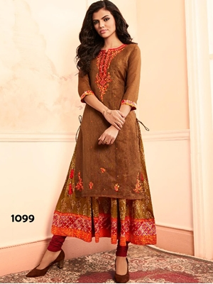 Picture of 1099 Brown Designer Stitched Kurti