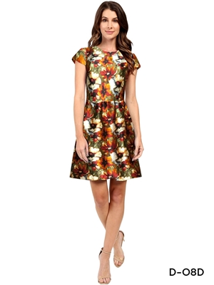 Picture of D08D Royal Yellow Printed Designer Western Wear Dress