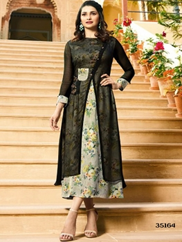 Picture of 35164 Black and Beige Designer Stitched Long Kurti