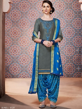 Picture of 4125 Gray Designer Unstitched Patiala Suit