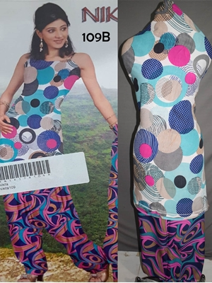 Picture of 109B White and Multicolor Printed Salwar Suit
