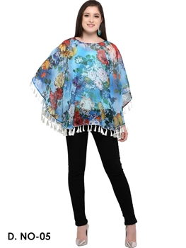 Picture of 05 Blue Digital Printed Ponchos