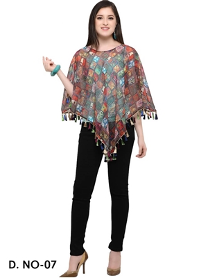 Picture of 07 Brown Digital Printed Ponchos