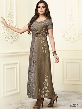 Picture of 6004 Brown Designer Stitched XL Size Kurti