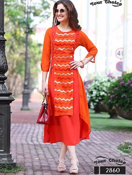 Picture of 2860 Saffron Designer Stitched Western Wear Kurti