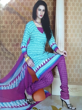 Picture of 1010 Sea Green and Sky Blue Printed Salwar Suit