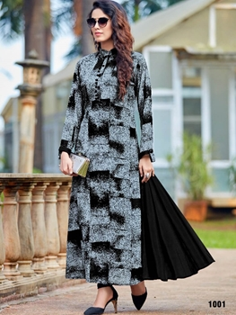 Picture of 1001 Gray and Black Designer Long Stitched Kurti