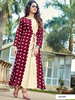 Picture of 1003 Cream and Maroon Designer Long Stitched Kurti
