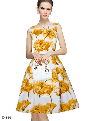 Picture of D144 Yellow Designer Western Wear Dress