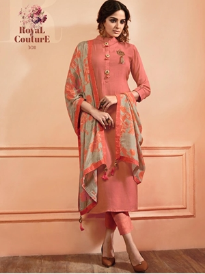 Picture of 3011 Pink Designer Without Bottom Stitched Kurti