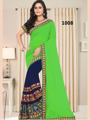 Picture of 1008 Parrot Green and Dark Blue Designer Georgette Saree