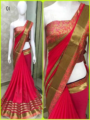 Picture of 01 Crimson Red Designer Georgette Saree