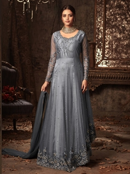 Picture of Grey Net Embroidery Ceremony Anarkali Salwar Kameez