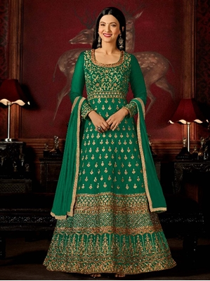 Picture of Green Silk Hand Work Ceremony Anarkali Salwar Kameez