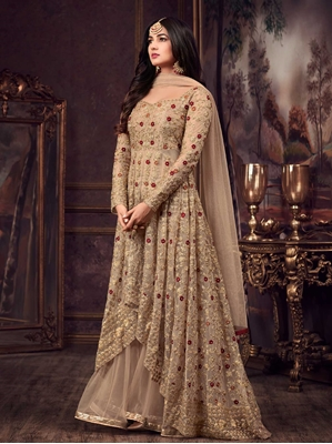 Picture of Beige Net Embroidery Ceremony Anarkali Salwar Kameez
