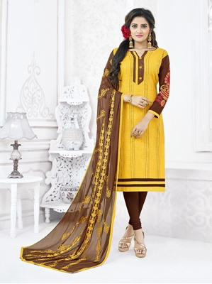Picture of Yellow Cotton Embroidery Casual Designer Chudidar Kameez