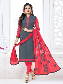 Picture of Grey Cotton Embroidery Casual Designer Chudidar Kameez