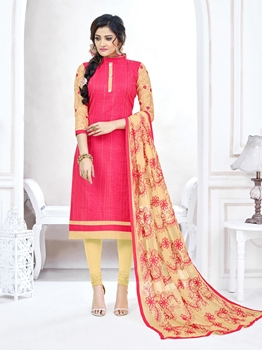 Picture of Pink Cotton Embroidery Casual Designer Chudidar Kameez