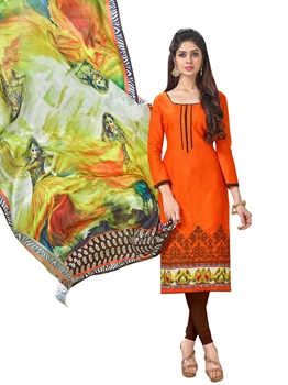 Picture of Orange Cotton Embroidery Casual Designer Chudidar Kameez